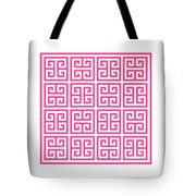 Greek Key With Border In French Pink Tote Bag
