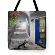 Greek Pink Flowers Tote Bag