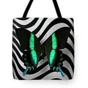Green And Black Butterfly On Wavey Lines Tote Bag