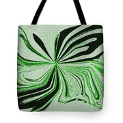 Green And Black Embroidered Butterfly Abstract Tote Bag