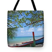 Green And Blue Boat Tote Bag