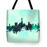 Green And Blue New York Skyline Tote Bag