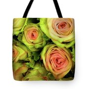 Green And Pink Rose Bouquet Tote Bag