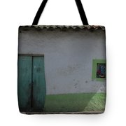 Green And White House Tote Bag