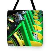 Green And Yellow Bicycles Tote Bag