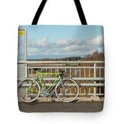 Green Bicycle On Bridge Tote Bag