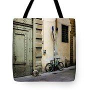 Green Bike And Door Tote Bag