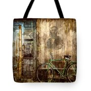 Green Bike Crooked Door Tote Bag