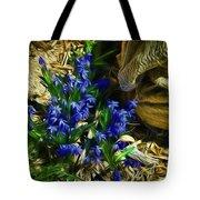 Green Blue And Burlap Tote Bag