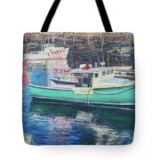 Green Boat Reflections Tote Bag