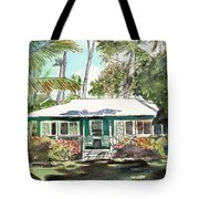 Green Cottage Tote Bag by Marionette Taboniar