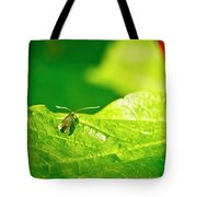 Green Creature On A Broad Leaf. Tote Bag