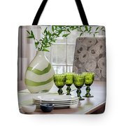 Green Decor Dinning Table Place Settings Tote Bag