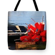 Green Dingy And Bouys Tote Bag