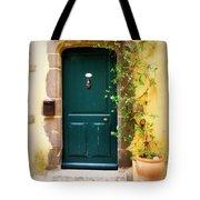 Green Door With Vine Tote Bag
