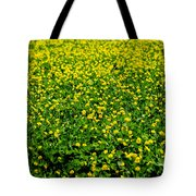 Green Field Of Yellow Flowers Tote Bag