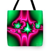 Green Flowers On Pink Ribbons Fractal 64 Tote Bag