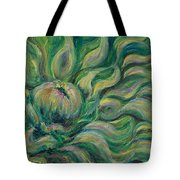 Green Flowing Flower Tote Bag