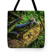 Green Frog On A Brown Log Tote Bag