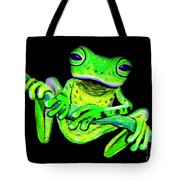 Green Frog On A Vine Tote Bag