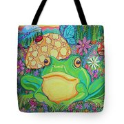 Green Frog With Flowers And Mushrooms Tote Bag