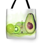 Green Fruits Watercolor Tote Bag