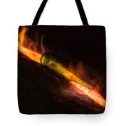 Green Glass Bottle And Campfire Tote Bag