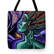 Green Goddess With Butterfly Tote Bag