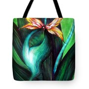 Green Golden Exotic Orchid Flower Tote Bag