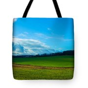 Green Grass And Blue Sky With White Clouds Tote Bag