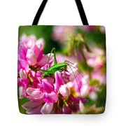 Green Grasshopper On Pink Flowers Tote Bag