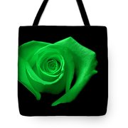 Green Heart-shaped Rose Tote Bag by Glennis Siverson