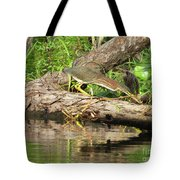 Green Heron Fishing 2 Tote Bag