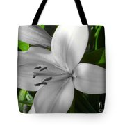 Green Highlighted Lily Tote Bag