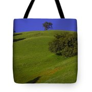 Green Hill With Poppies Tote Bag
