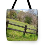 Green Hills And Rustic Fence Tote Bag