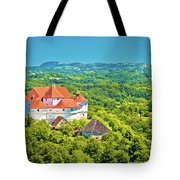 Green Hills Of Zagorje Region And Veliki Tabor Castle View Tote Bag