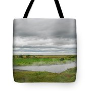 Green Landscape With Steamy River Tote Bag
