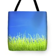 Green Lawn Grass Under Blue Sky Tote Bag
