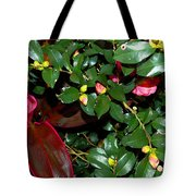Green Leafs And Pink Flower Tote Bag