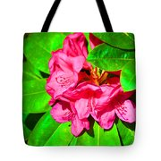 Green Leafs Of Pink Tote Bag