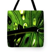 Green Leave With Holes Tote Bag