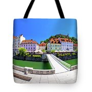 Green Ljubljana Riverfront Panoramic View Tote Bag