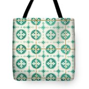 Green Lucky Charm Lisbon Tiles Tote Bag