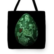 Green Marble Egg With Red Details Tote Bag