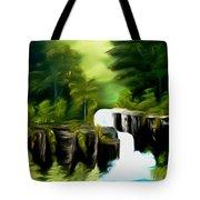 Green Mist Fantasy Falls Dreamy Mirage Tote Bag