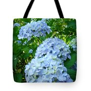Green Nature Landscape Art Prints Blue Hydrangeas Flowers Tote Bag