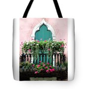 Green Ornate Door With Geraniums Tote Bag