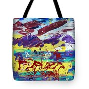 Green Pastures And Purple Mountains Tote Bag
