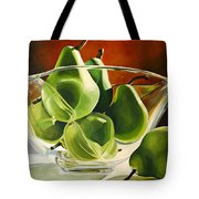 Green Pears In Glass Bowl Tote Bag